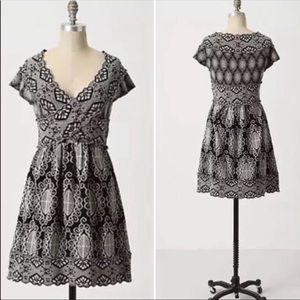 Anthro Knitted & Knotted Gray Floral Wool Dress